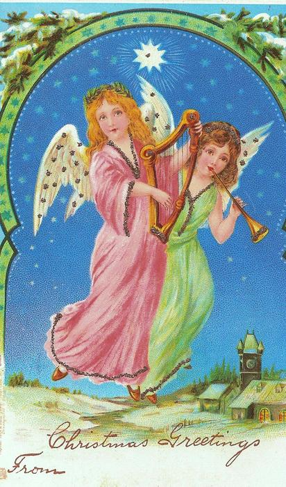 two flying angels , one in pink playing lyre, one in green has horn, snowy evergreen above