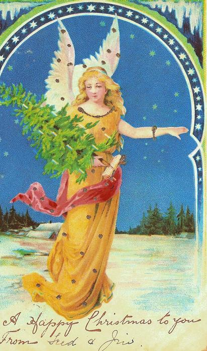 angel in yellow, carrying Christmas tree