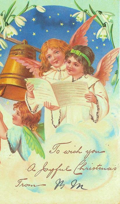 three angels, two reading, one tolling a bell