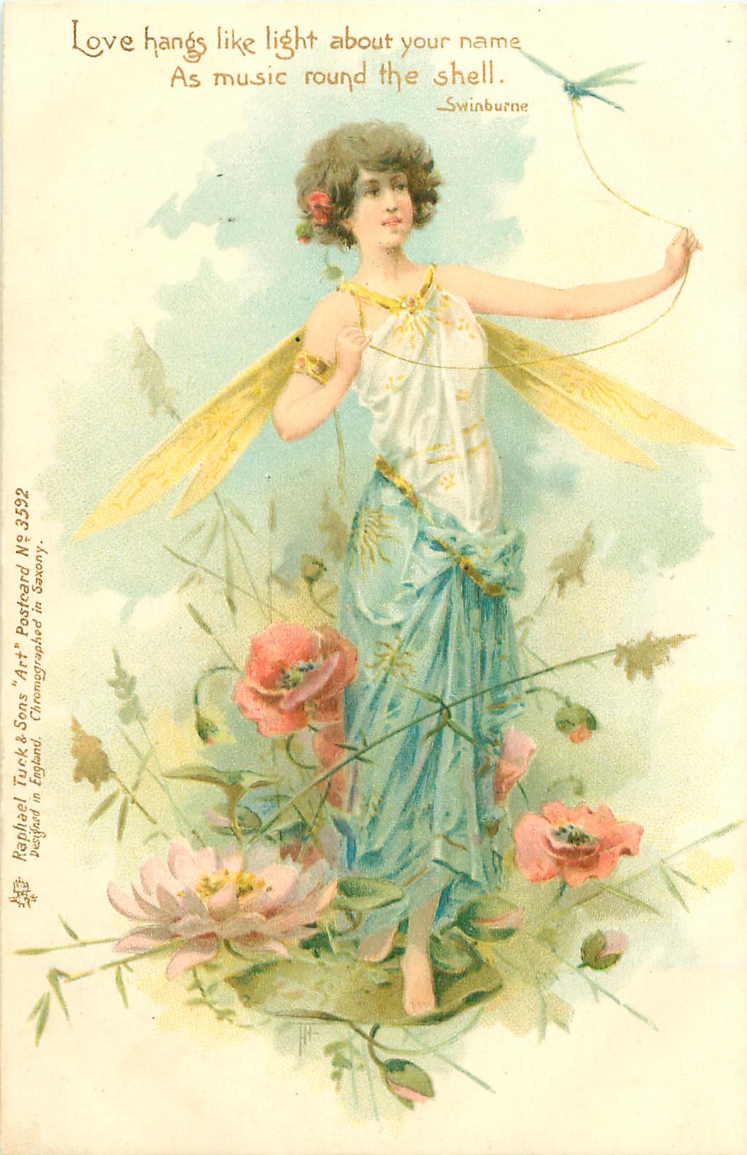 fairy & dragon fly - TuckDB Postcards