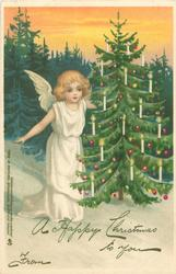 angel at left of tree, golden sky, white snow