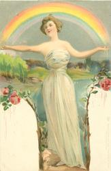 woman with both arms outstretched