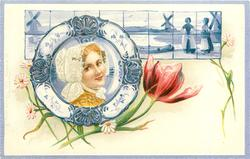 woman faces right on plate, two windmills and two people on rear tiles, red tulip