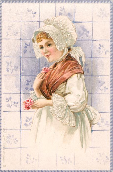 girl in white dress and brown shawl with red roses, faces left