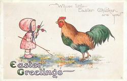 EASTER GREETINGS  small girl & large cockerel