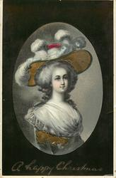 oval inset, woman facing partly right, looking right/front, gilt enamel underside to brim of hat