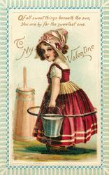 milkmaid in clogs  carries pail
