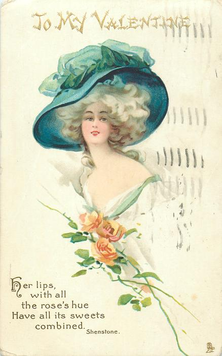HER LIPS WITH ALL THE ROSE'S HUE HAVE ALL ITS SWEETS COMBINED  girl facing left & looking front, enormous hat