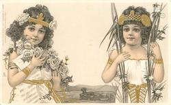 girl on right has tall reeds in both hands, girl on left has roses