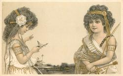 girl on right has bow and arrow, girl on left faces right butterfly on finger