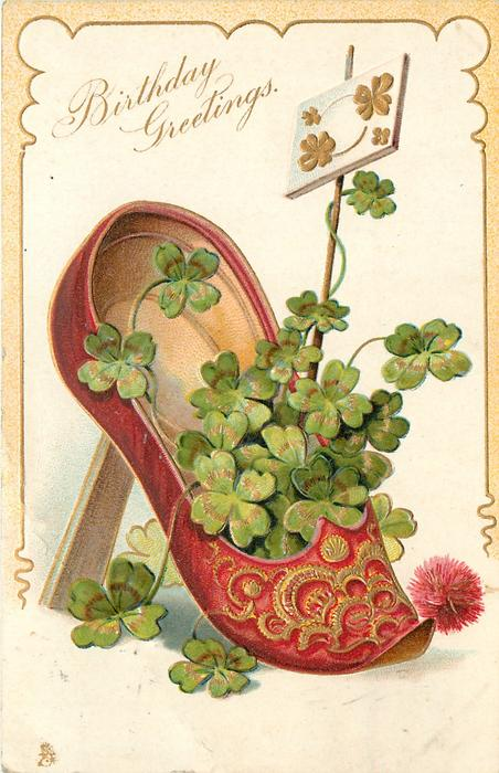 BIRTHDAY GREETINGS red slipper & 4 leaf clover