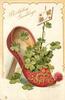 BIRTHDAY GREETINGS red slipper & 4 leaf clover