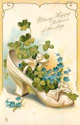 MANY HAPPY RETURNS OF THE DAY white shoe, 4 leaf clover & forget-me-nots