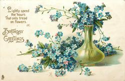 LIGHTLY SPEED THE HOURS THAT ONLY TREAD ON FLOWERS  forget-me-nots in & around tall green vase with bulbous base