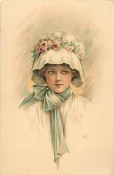 girl's head & shoulders, blue ribbon