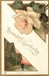 BIRTHDAY GREETINGS triangular inserts: peach rose upper right, man & house lower