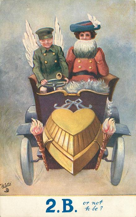 2.B. OR NOT TO BE?  green coated cupid driving lady in red coat with white muff, in auto with heart motor