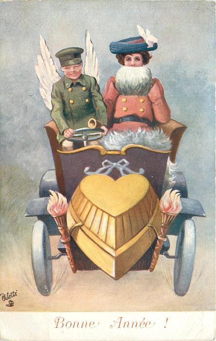 BONNE ANNEE! (ANNÉE on card)  green coated cupid driving lady in red coat with white muff, in auto with heart motor