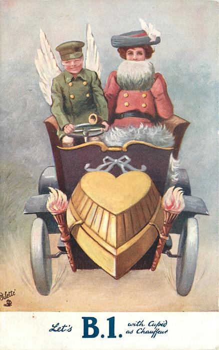 LET'S B1 WITH CUPID AS CHAUFFEUR green coated cupid driving lady in red coat with white muff, in auto with heart motor