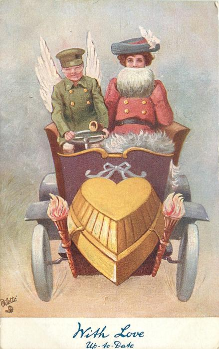 WITH LOVE UP-TO-DATE  green coated cupid driving lady in red coat with white muff, in auto with heart motor
