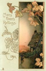 MANY HAPPY RETURNS  insert to right of cottage at night, ivy surrounds