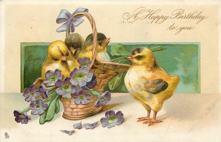 A HAPPY BIRTHDAY TO YOU   three chicks in basket, another chick stands to right, facing forward left