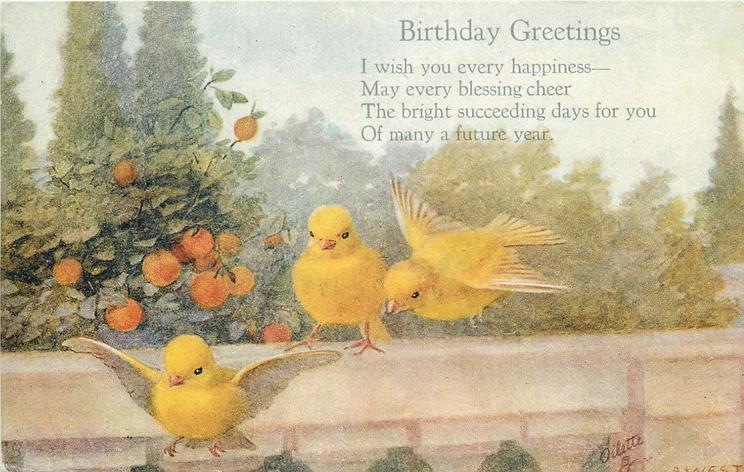 BIRTHYDAY GREETINGS  three yellow birds