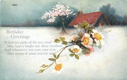 BIRTHDAY GREETINGS  snow scene, cottage right behind, wild roses, blossom tree
