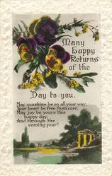 MANY HAPPY RETURNS OF THE DAY TO YOU  verse, pansies