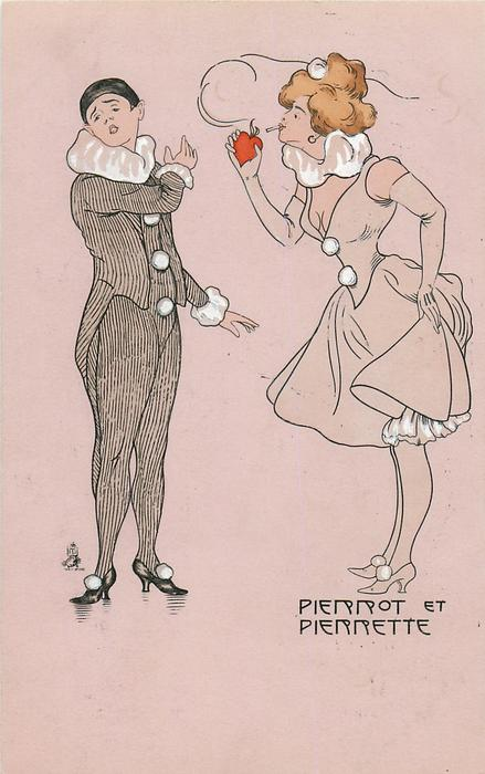 Pierrot concerned as Pierrette touches her cigarette to the heart
