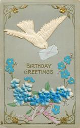 BIRTHDAY GREETINGS  satin dove with envelope