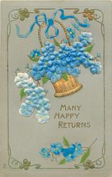 MANY HAPPY RETURNS or A TOKEN OF AFFECTION  satin forget me nots in basket