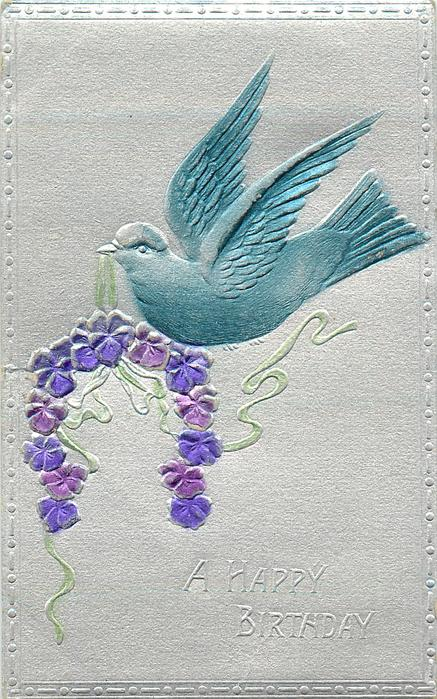 A HAPPY BIRTHDAY  embossed & backed silvered card with blue bird carrying flower, it faces left