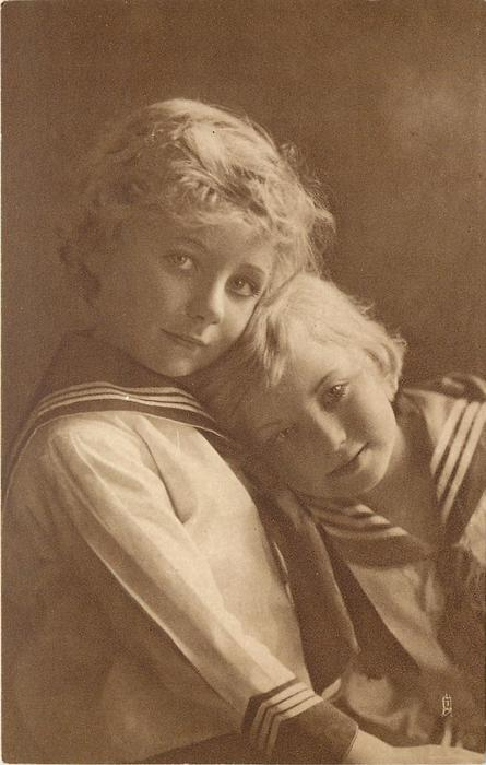 two blond children in sailor suits, child on right leans head on other's chest