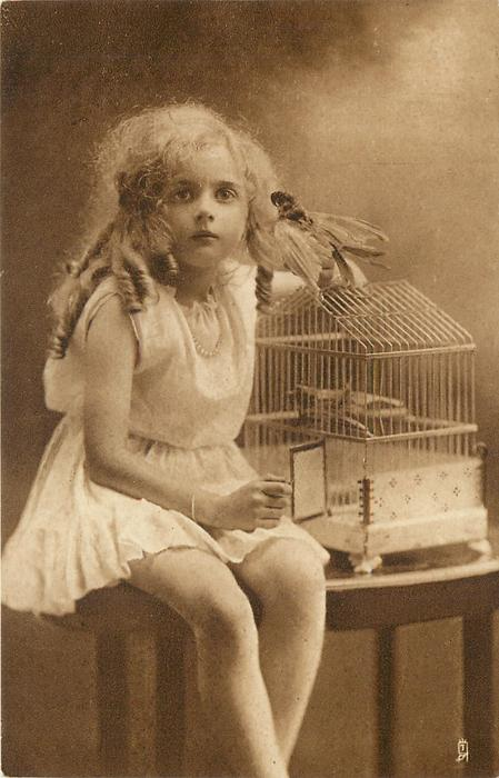 girl sits on table to left of bird cage with stuffed bird perched on top, she looks forward