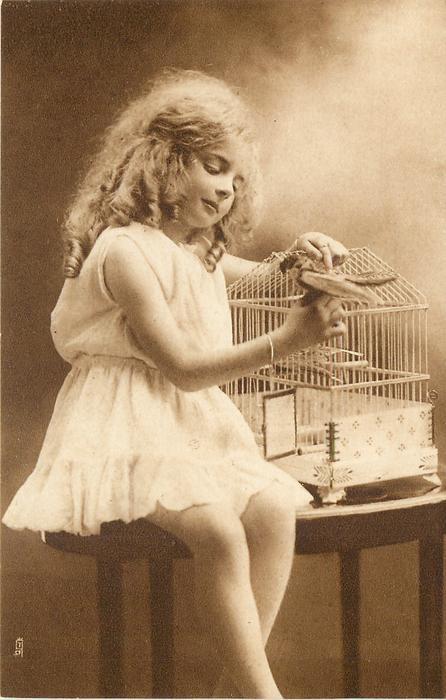 girl sits on table to left of bird cage, holds stuffed bird in right hand, looks down
