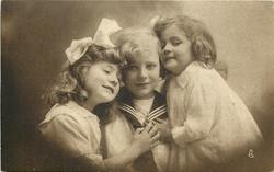 boy in sailor suit between two girls, both girls have hands high on boys chest covering the knot on his tie, anchor shows on boys shirt, boy looks front