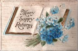 MANY HAPPY RETURNS  blue forget-me-nots lie on open book