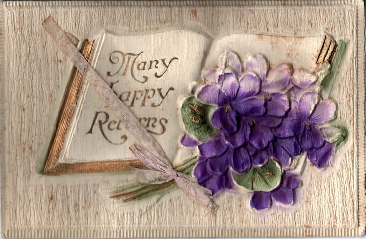 MANY HAPPY RETURNS  violets lie on open book
