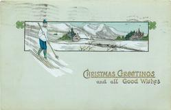 CHRISTMAS GREETINGS AND ALL GOOD WISHES  boy skis in white sweater with snow covered landscape behind
