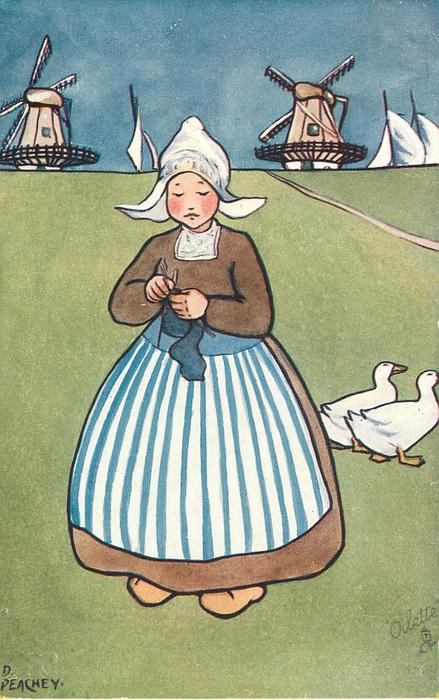 girl in brown dress,, knitting ,blue/white striped pinny, two ducks on grass