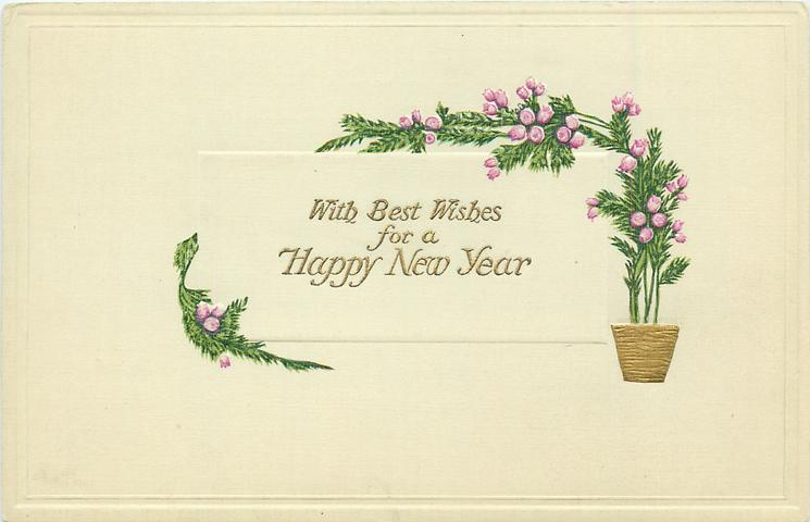 WITH BEST WISHES FOR A HAPPY NEW YEAR  heather growing  in gilt pot