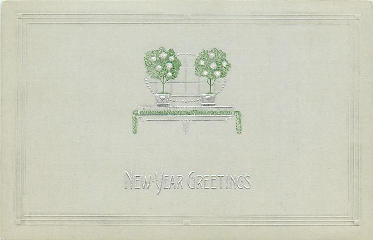 NEW-YEAR GREETINGS  roses in two pots, silver design