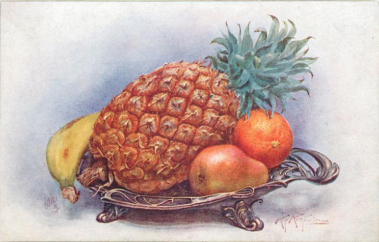 4 fruits in dish, left to right are banana, pineapple, pear and orange