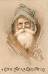 CHRISTMAS GREETINGS  brown coated Santa, left hand visible