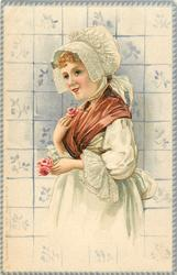 woman facing left holds single rose in left hand, touches another at her chest, delft tiles behind