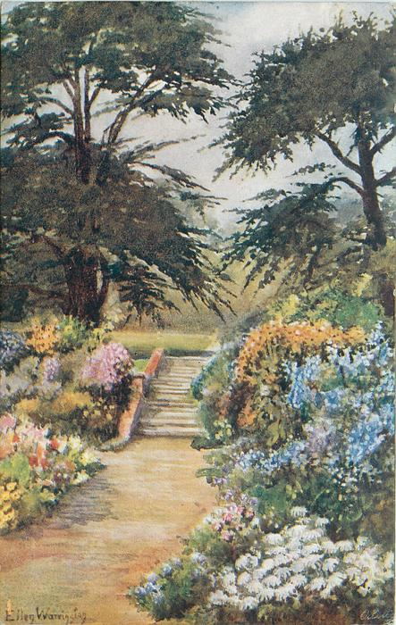 flowers on both sides of path, steps in center, treeson each side at back
