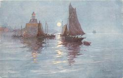 sailing boats, lighthouse, evening scene