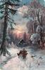evening snowscene, shepherd leads his flock forwards, large tree to left