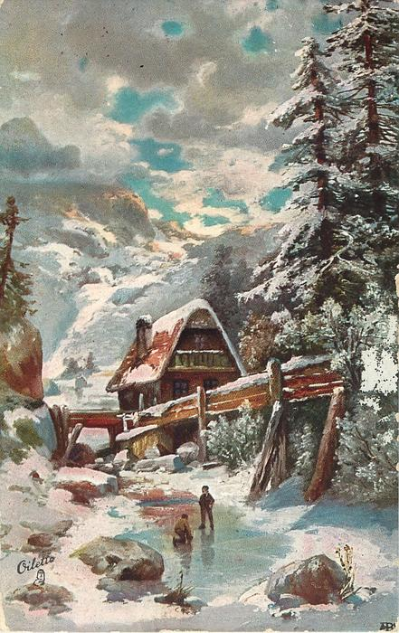 snowscene, two boys on frozen pond in front of mill, mountains behind